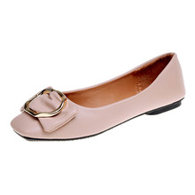 New Women Shallow Bowknot Square buckle Low Heel Shoes Pointed Single Shoes Ladies Comfy Shoes Soft Slip-On Casual Boat Shoes S