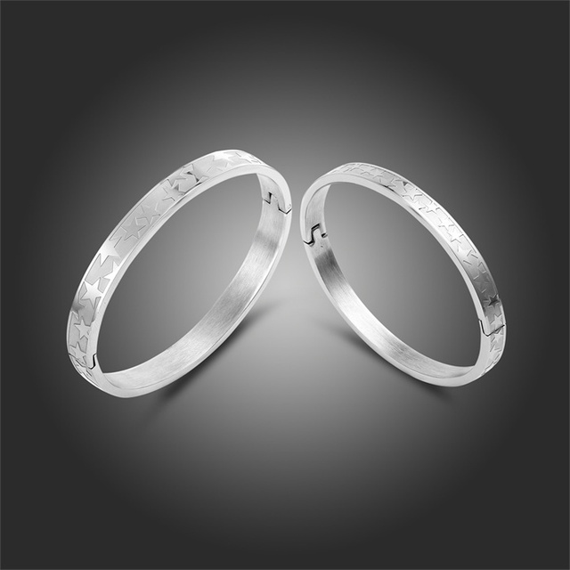 Men Women Jewelry Star Pattern Silver Stainless Steel Bangle Handcuff Bracelet Set For Wedding