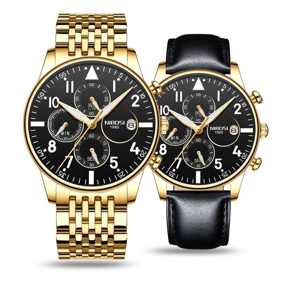 NIBOSI Set Relogio Masculino Chronograph Waterproof Men Fashion Business Watches Mens Watches Date Calendar Mens Quartz