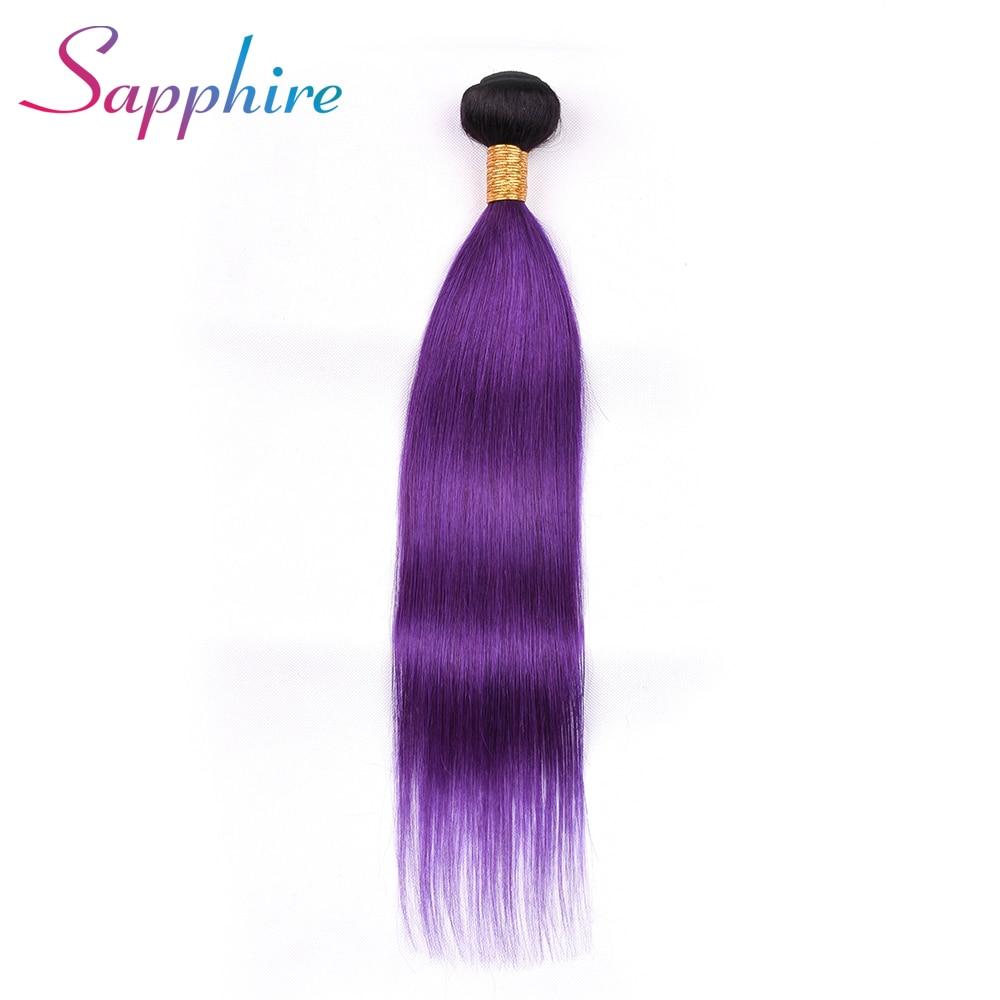 Sapphire Hair Brazilian Hair Straight Human Hair Bundles Ombre Color TB/Purple 1 Piece Hair Extension Can Buy 3 or 4 Bundles
