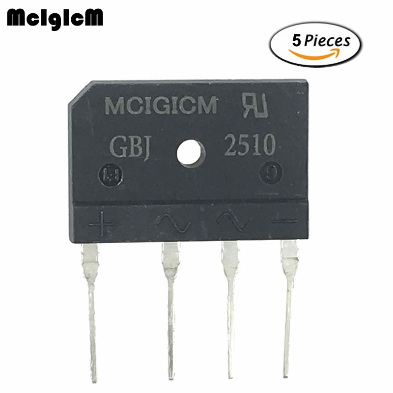 5pcs GBJ2510 2510 25A 1000V Single Phases Diode Bridge Rectifiers 30*20*4mm