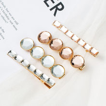 Korean crystal Rhinestones hairpin hairclip geometry round square bead gold clips set hair jewelry Accessories barrette 2019 NEW(China)