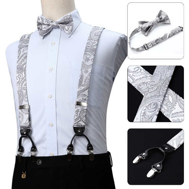 Men Suspenders Paisley Fashion Wedding  Various 6 Clips Party Pre-Tied Bowtie Pocket Square Set Adjustable Braces #S04