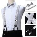 Men Suspenders Paisley Fashion Wedding Various 6 Clips Party Pre-Tied Bowtie Pocket Square Set Adjustable Braces #S04