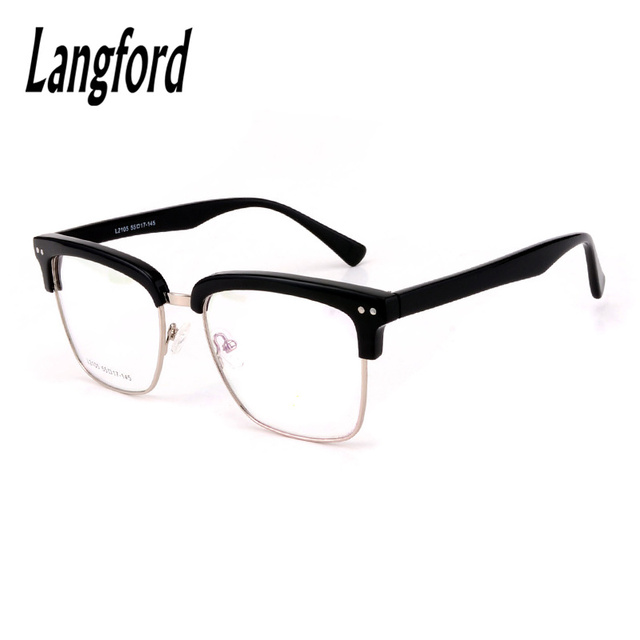 647a60056e549 Grandes óculos de armação armações do vintage retro Moda metade aro quadrado  Óculos Óculos de acetato