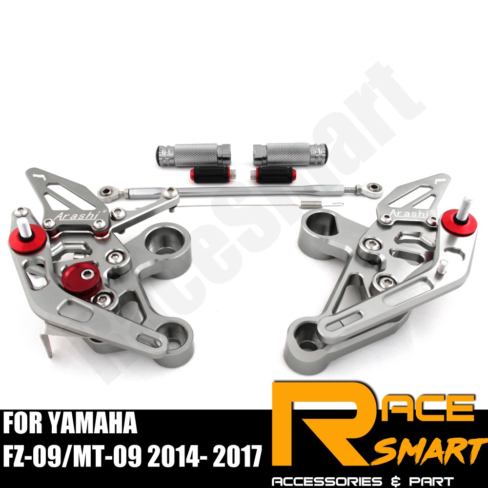 FOR YAMAHA FZ-09 MT-09 2014 - 2017 FZ09 MT09  Rear Footrests Foot Rest Pegs Pedal Motorcycle Accessories CNC Adjustable Rearset