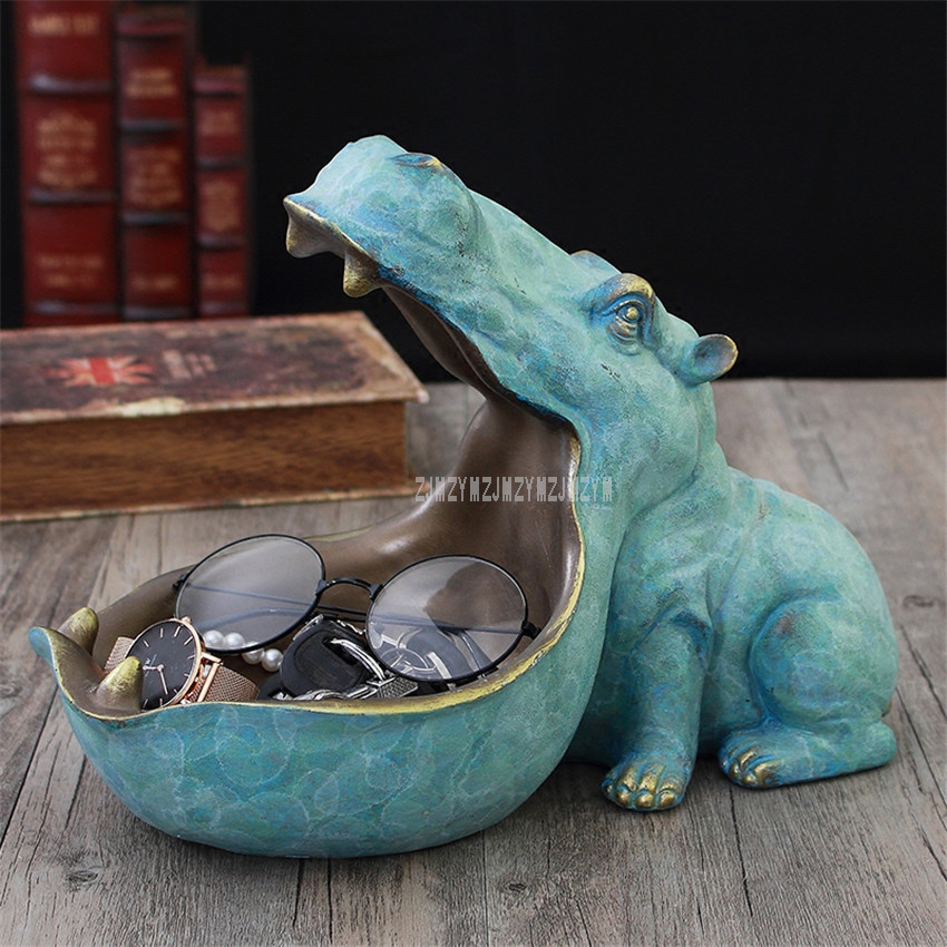 Abstract Hippopotamus Statue With Storage Funcion Resin Artware Sculpture Ornament For Desk Home Decoration Accessories