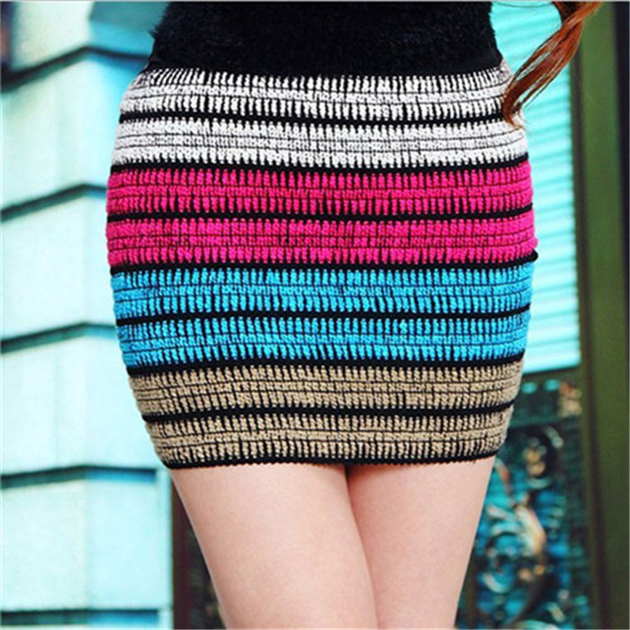 Autumn skirts women knitted pencil party lady casual patchwork mini stripe colorful - Your Wardrobe by me store