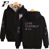 LUCKYFRIDAYF BTS Love Yourself Fashion Sweatshirt Hoodies Women Kpop Warm Thicken Harajuku Hoodies Women Female Zipper