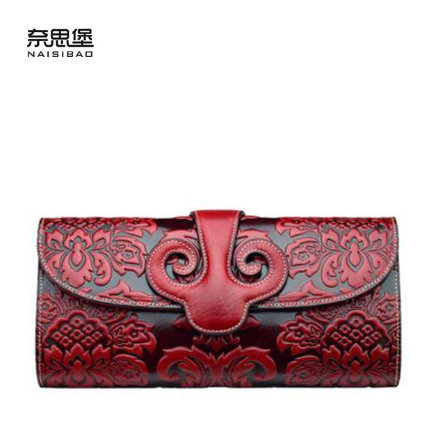 2016 New genuine leather women bag chinese style embossing fashion women clutch bag chain shoulder bag leather cowhide bag