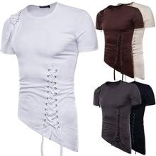ZOGAA Men Summer New Short Sleeve T-shirt with Irregular Design Knitting Rope Fashion T Shirt Camisetas Hombre 2019