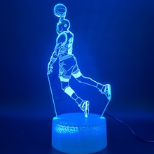 Светодиодный ночник Майкл иорданский Данк рисунок 3d лампа спортивные баскетбольные Декор для дома подарок на день рождения для детей, носки для мальчиков и детей инновационный осветительный прибор