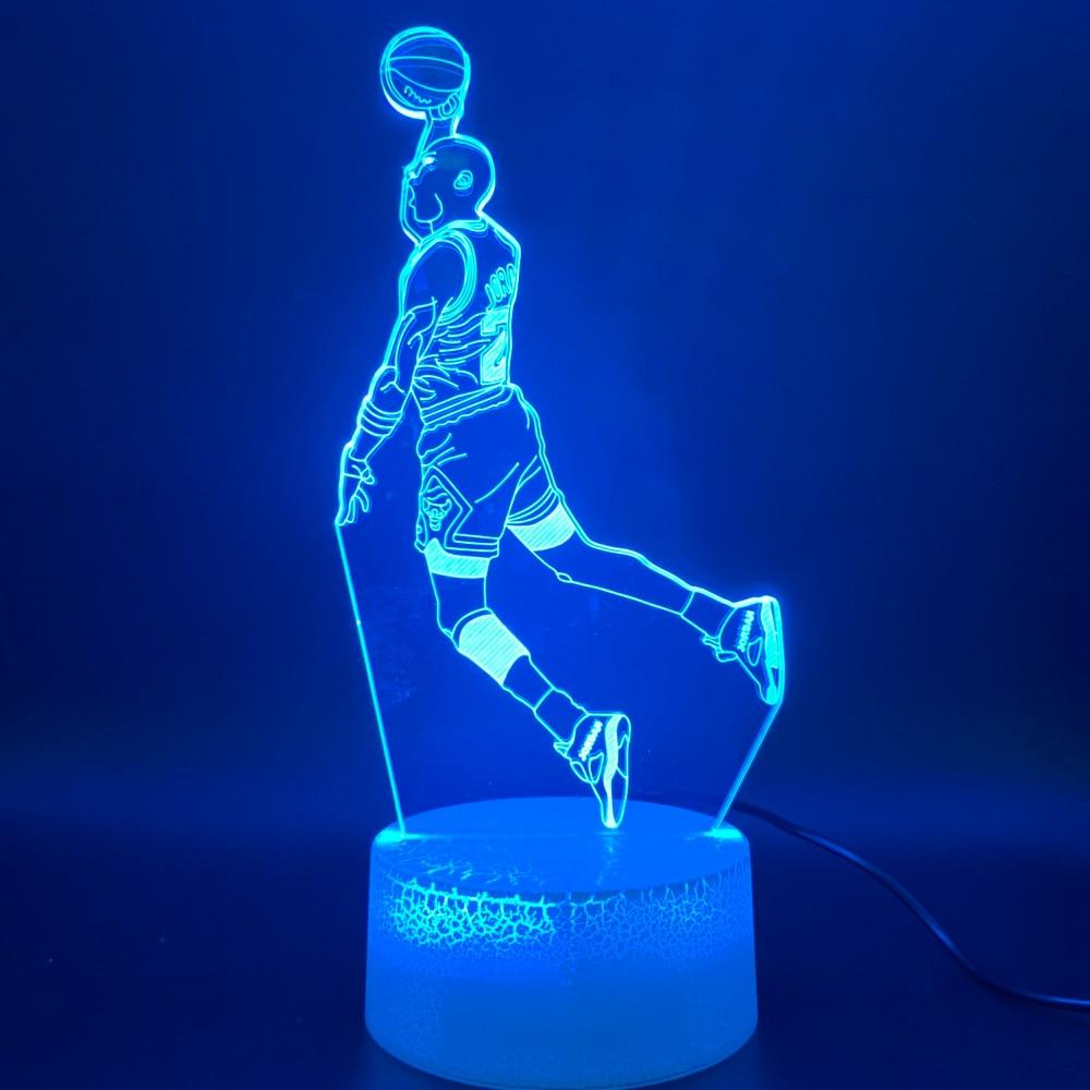 LED Night Light Michael Jordan Dunk Figure 3d Lamp Sports Basketball Home Decor Birthday Gift For Kids Boy Child Novelty Light