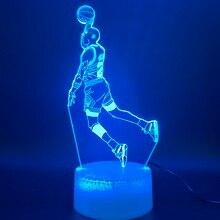 цена на LED Night Light Michael Jordan Dunk Figure 3d Lamp Sports Basketball Home Decor Birthday Gift for Kids Boy Child Novelty Light