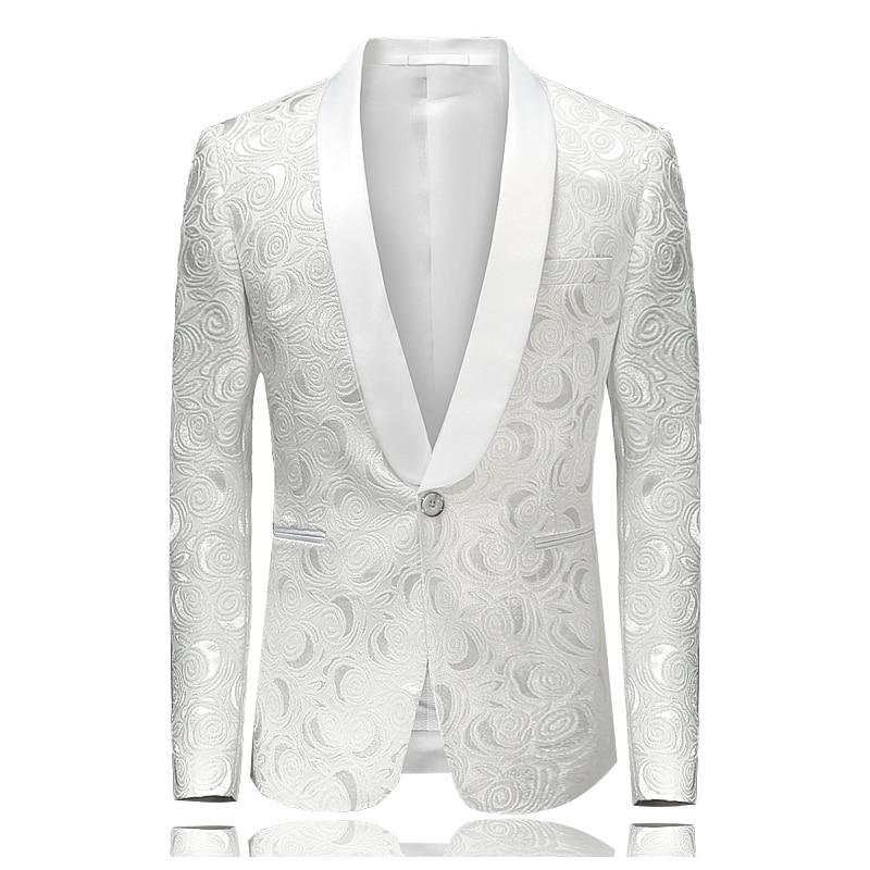 White Rose Jacquard Blazer Shawl Collar Wedding Suit