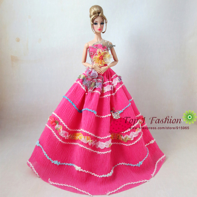 5pieces Lot Wholesales High Quality Full Around Lace Red Rose Wedding Dress For Barbie Doll