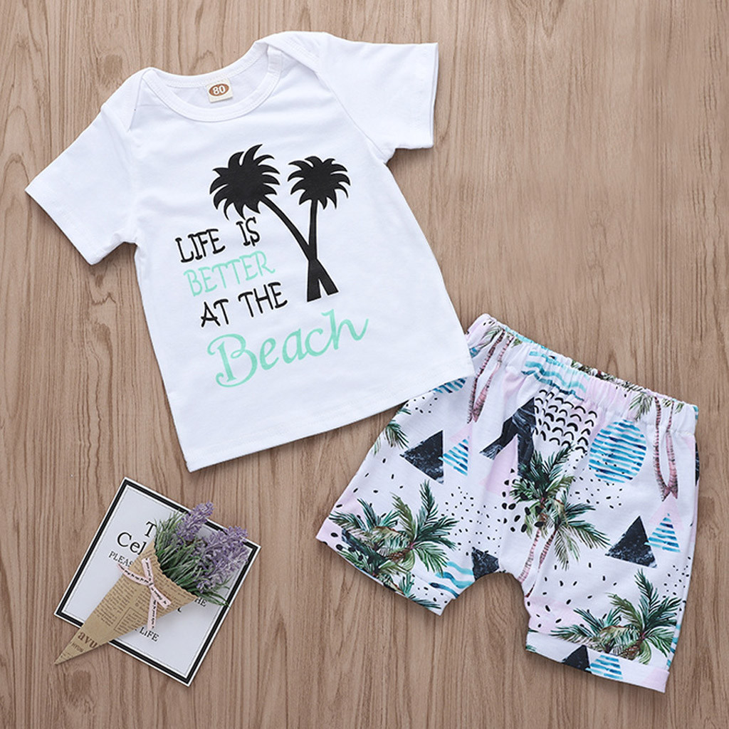 2019 Summer Newborn Infant Baby Girls Boys New Casual Fashion Holiday Style Letter Print T Shirt Shorts Outfits Clothing Sets(China)