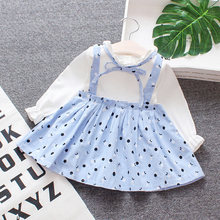 Baby girl princess dress birthday girl outfit button printing lantern sleeve fashion cute mini dress long sleeve baby girl(China)