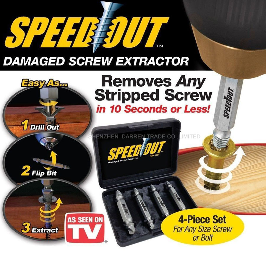 4pc/set Speed Out Core Drill bit Damaged Screw Extractor Remover Drill For Removing Any stripped screw (phillips, Flat, Hex) 4pcs set damaged screw extractor drill set speed out set hex shank work with any drill easy out remove broken screw