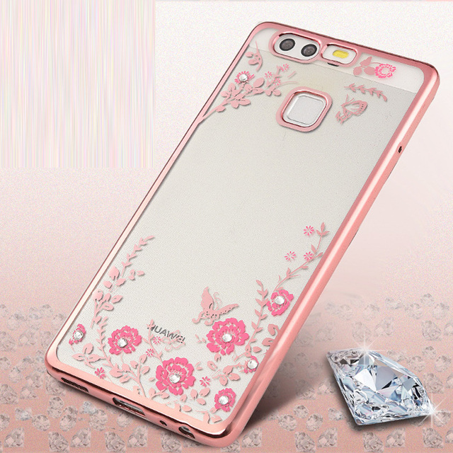best loved 2e6f4 fa3ee US $3.35 |For Fundas Huawei P10 lite Case Silicone Bling Diamond Clear  Cover Soft TPU Flower Flora Phone Cases For Huawei Ascend P10 lite on ...
