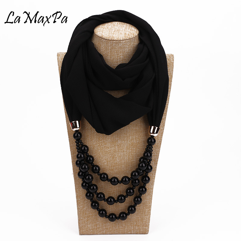 LaMaxPa 2019 New Fashion Women Solid Jewelry Pendant Chiffon Scarf Pearl Shawls and Wraps Soft Female Accessories 65Colors