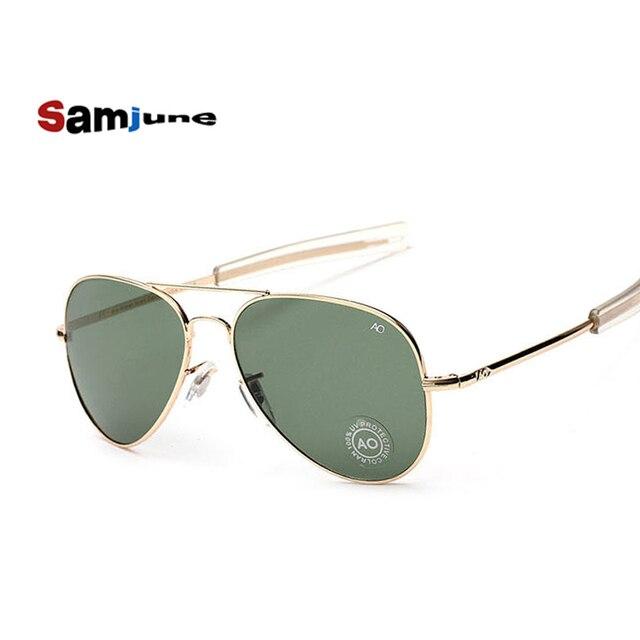 711065a642 Samjune moda aviación Gafas de sol hombres marca diseñador ao Sol Gafas  para hombre del ejército
