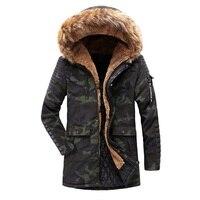 Faux Fur Hoodie Jackets Men Winter Coats Cotton Padded Medium Long Warm Parkas Male Windproof Outerwear Streetwear Man Overcoat