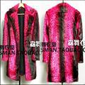 Calientes 2016 nuevos hombres cantante de club nocturno DS DJ derecha Zhi-Long GD larga sección fósforo rojo abrigo de piel de leopardo trajes trench