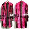 HOT 2016 NEW Men clothing nightclub singer DS DJ right Zhi-Long GD long section red phosphor leopard fur coat costumes trench