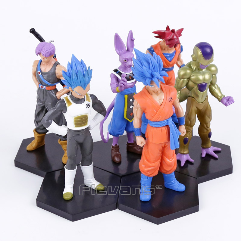Dragon Ball Z Son Goku Vegeta Beerus Freeza Trunks PVC Figures Collectible Model Toys 6pcs/set 13~15cm 6pcs set dragon ball z son goku vegeta broly kakarotto battle ver pvc action figures dragonball figure toys collection model toy