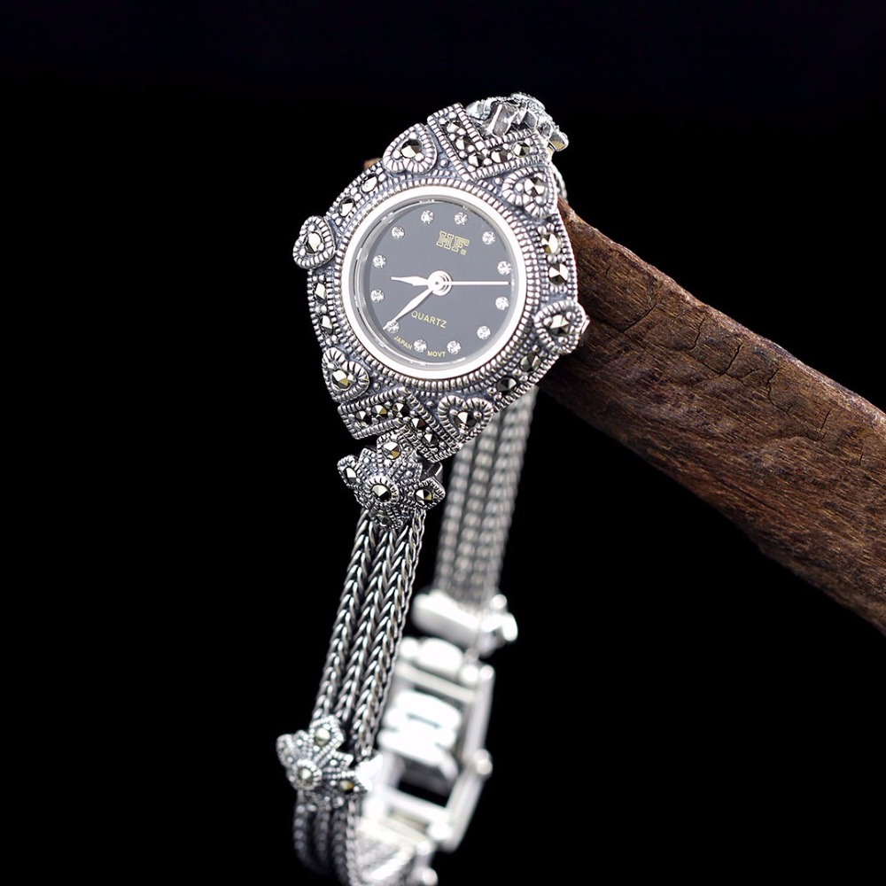 New Limited Edition Classic S925 Silver Pure Thai Silver Heart Bracelet Watches Thailand Process Rhinestone Bangle Dresswatch серьги set of thai silver square 925
