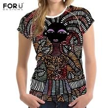 FORUDESIGNS, camisetas Vintage de verano para mujer con diseño de tribus africanas, camisetas Diseño étnico de manga corta, ropa, camiseta de mujer a la moda