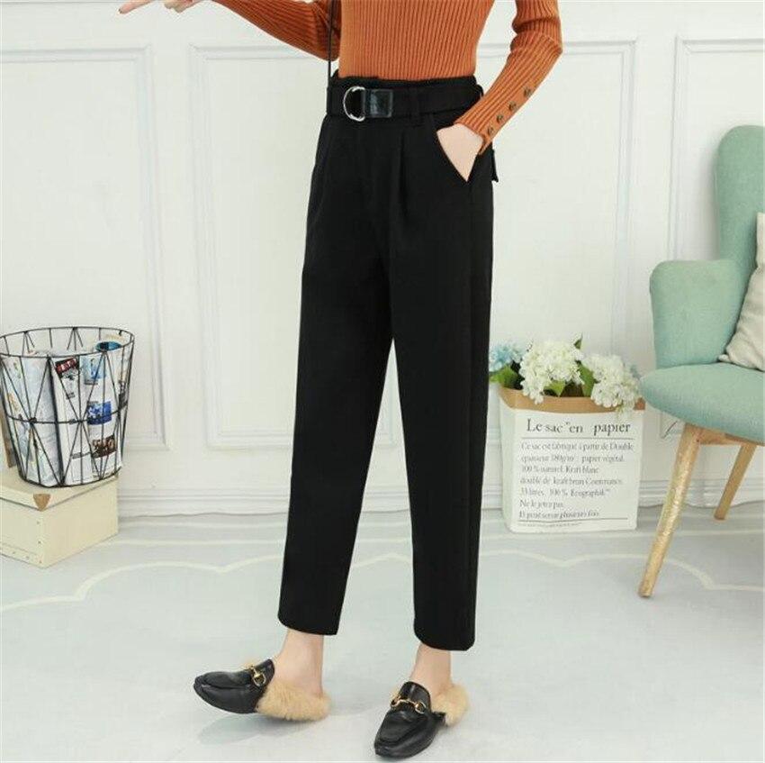 MLCRIYG 2018 automne hiver nouveau modèle coréen taille haute en laine loisirs temps droit Haren pantalon MQ MAMA