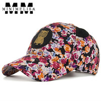2018 NEW Flower Owl Sticker Ear Cotton Baseball Cap Hooded Cap Lady Sun Cap Women Hat Outdoor Hat Adjustable 6 Color Caps