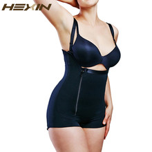 HEXIN Plus Größe Schwarz Zipper Butt Heber Booty Taille Trainer Full Body Shaper Strap Body Abnehmen Shapwear fajas Shapers(China)
