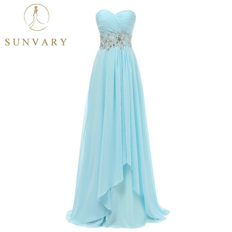 Low Waist Wedding Gowns: Sunvary Sweetheart Chiffon Long Bridesmaid Dress Plus Size