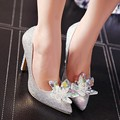 Size 4~9 Cinderella Wedding High Heels Women Pumps Bride Crystal Shoes Women Shoes zapatos mujer (Chenk Foot Length)