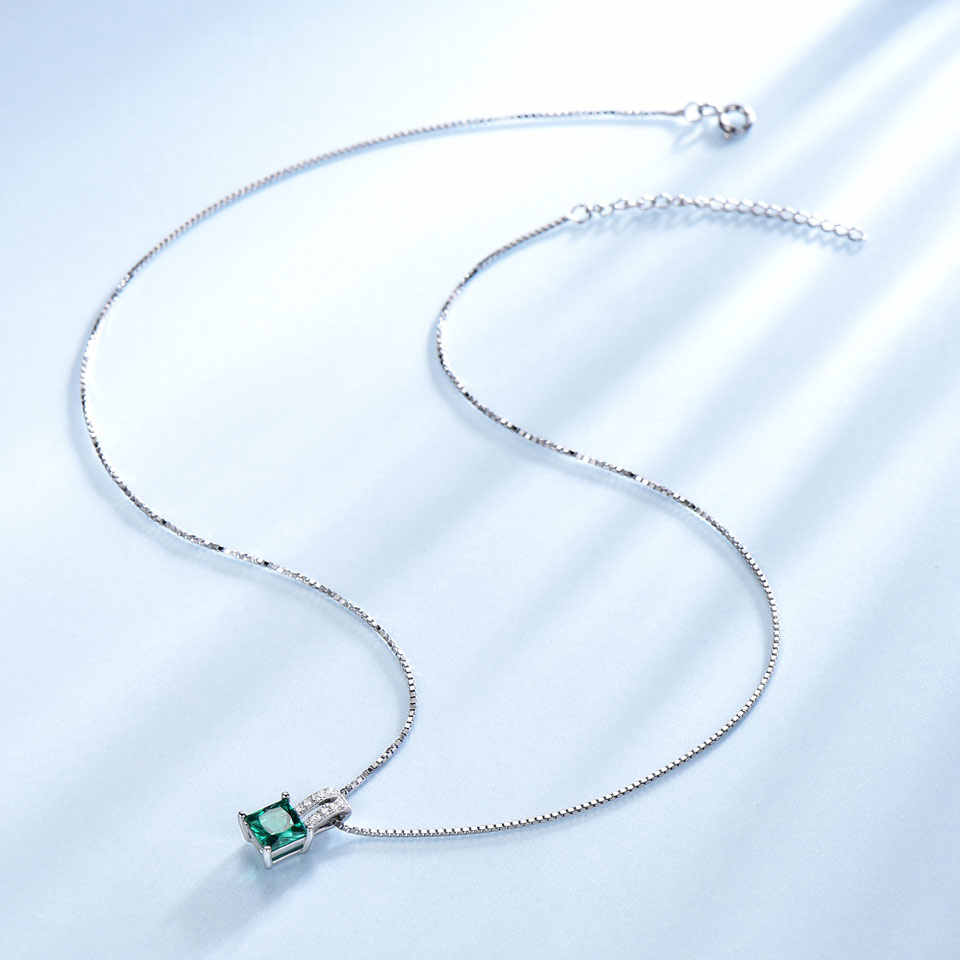 Umcho pure 925 prata esterlina pingentes para as mulheres verde princesa-corte esmeralda charme pingente de casamento jóias finas sem corrente