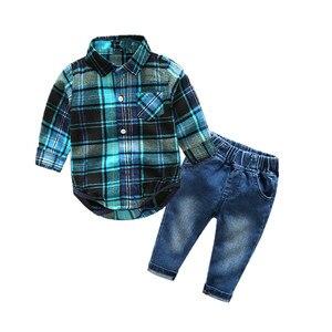 Image 1 - Newborn clothes plaid shirt with jeans blue color bebes clothing set 2pcs/set hot sale chlild clothing set