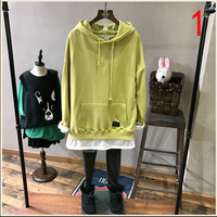 Spring Candy Color Hem Two Hooded Long Casual Turtleneck Sweater Jacket