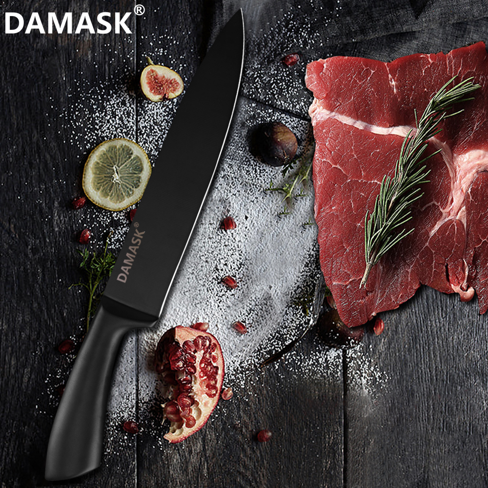 Damask Kitchen Knife Set Stainless Steel Knives 6PCS Set Knife Stand Holder Block Multi functional Kitchen Cooking Accessories in Knife Sets from Home Garden