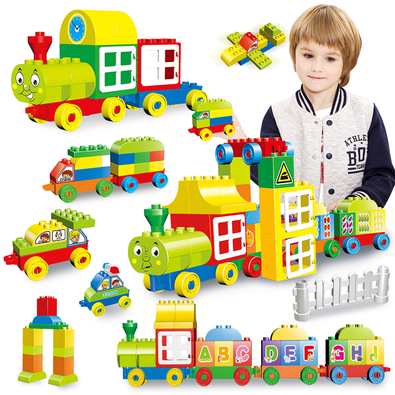 DIY Big Bricks Building Blocks Baby Toy Number/Letters Brick Car &Train Model Educational Toys Compatible With Legoed Duploed baby toys small train vehicle diy building blocks plastic stack number letter matching intelligent toy for children gifts 45pcs