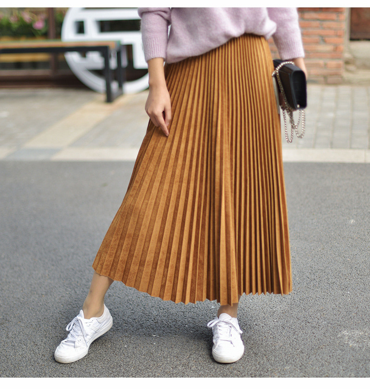 19 Two Layer Autumn Winter Women Suede Skirt Long Pleated Skirts Womens Saias Midi Faldas Vintage Women Midi Skirt 52