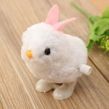 Mini Wind Up Easter Chick Infant Child Plush Doll Toys Hopping Jumping Bunny Gift Soft Plush Rabbit Jumping Bunny Doll Toys