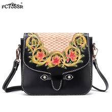 Folk Custom Handmade Carving Flower Bag Lady Crossbody Chinese Style Hasp Female Shoulder Genuine Leather Handbag