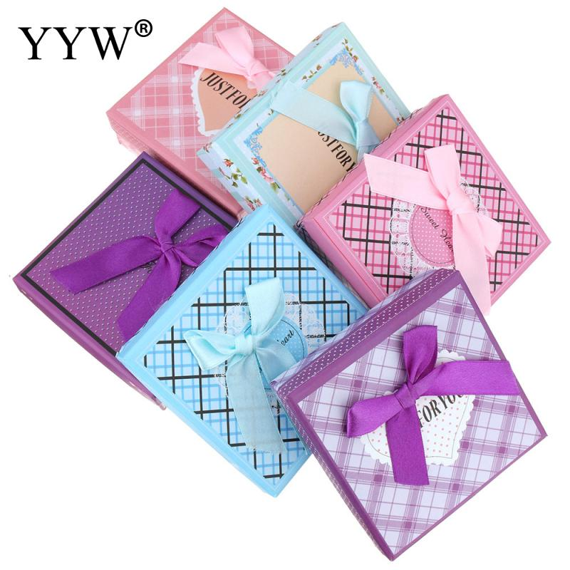 New Design Bracelet Jewelry Box Colorful Square Gift Casket Cardboard Boxes For Bangle 12PCs/Bag Mixed Pattern