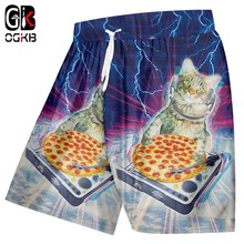 OGKB Man Hot Gyms Animal 3D Print Starry sky cat Handsome Big Size Clothing Men Spring Short Trousers Jogger(China)