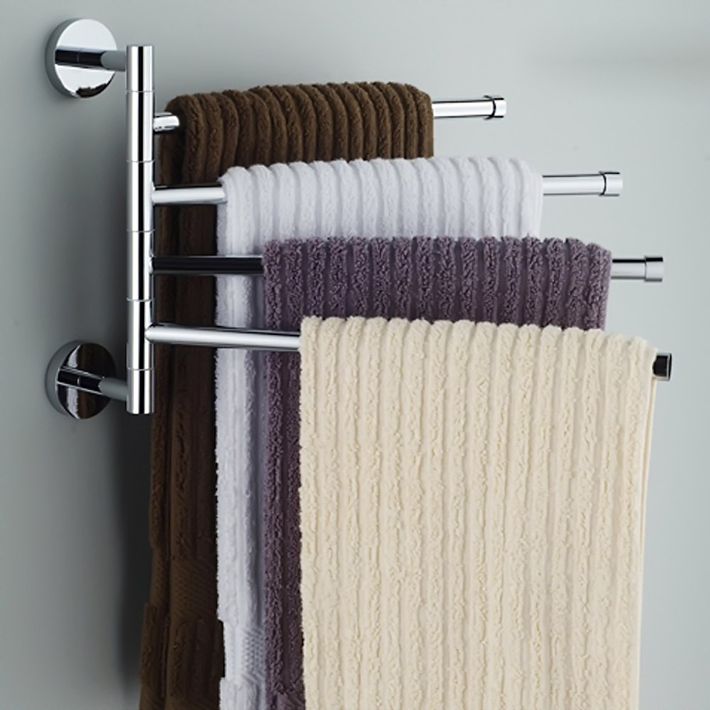 4 Layers Stainless Steel Towel Rack Rotating Tower Bar Wall Mounted Tower Holder Shower Hook For Bathroom Organizer HardwareBathroom Accessories Sets   -
