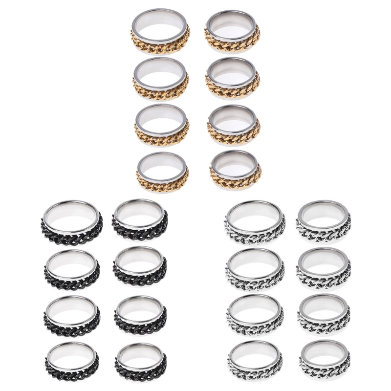 EDC Finger Fidget Spinner Size 6-13 Stainless Steel Chain Rotatable Ring Relieving Anxiety BC0815 Drop Ship