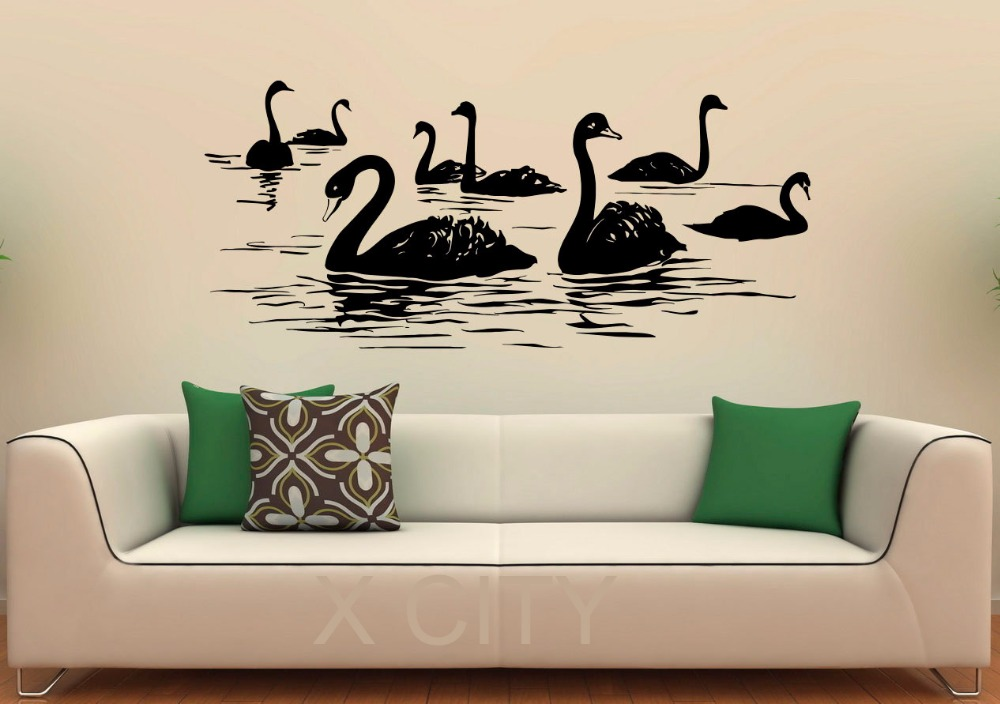 Buy swan birds wall decal lake vinyl for Bed room interior wall design